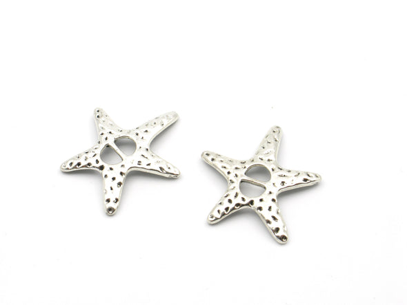 10 Pcs For 5mm flat leather,Antique Silver Sea star jewelry supplies jewelry finding D-1-5-12