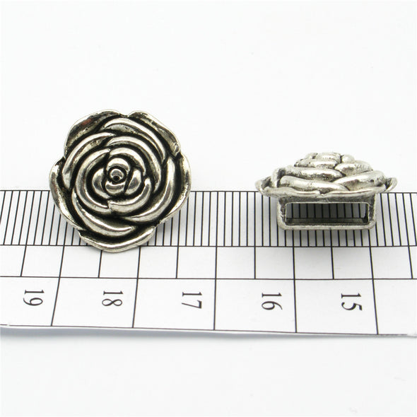 10pcs 10mm Flat Leather Supplies Slider Flower Multistrand Antique Silver Jewelry Components D-1-10-104
