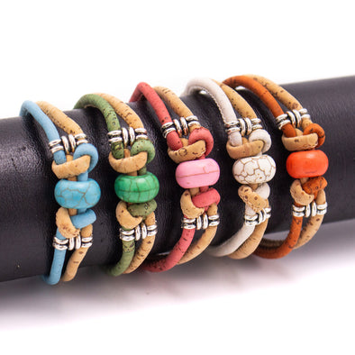 Cork jewelry cork bracelet for women colorful Cork handmade Original bracelet BR-500-MIX-5