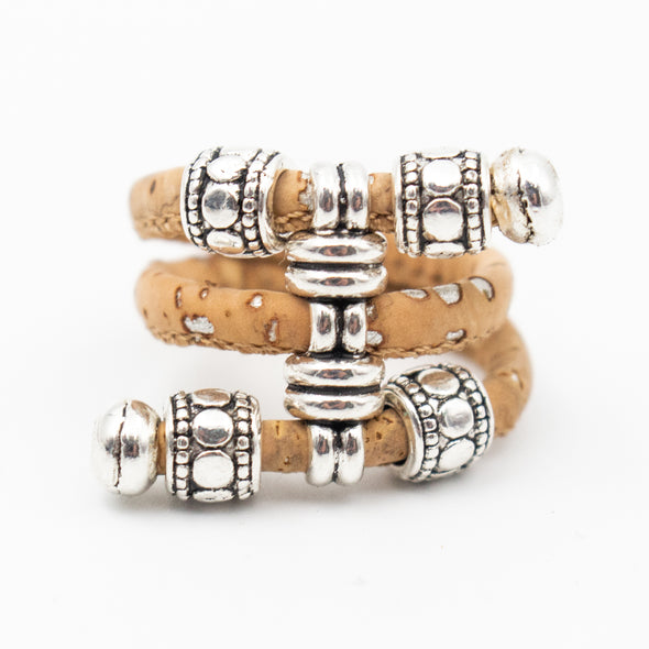Natural cork Antique beads vintage women cork Ring original adjustable handmade wooden vegan jewelry HR-004
