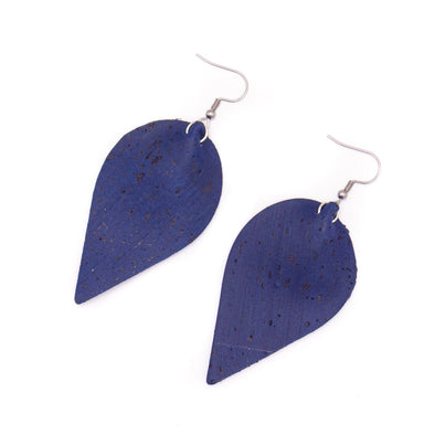 dark blue cork fabric  Shapes for Earrings, Original handmade ladies earrings-ER-119-B