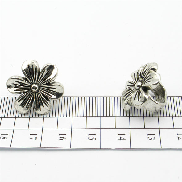 For 10*5mm Flower Slider Licorice Leather Oval Antique Silver bracelet Components Jewelry Findings D-2-10