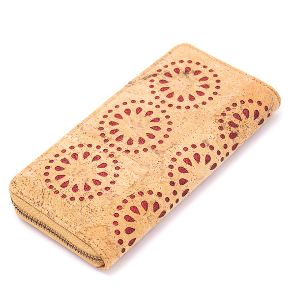 Natural cork Laser cute style women zipper card vegan wallet BAG-328-D