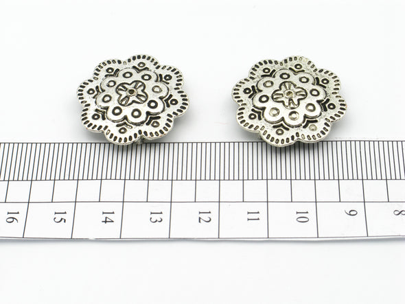 10pcs For 10mm flat leather Antique Silver big Mythic Flower jewelry supplies jewelry finding D-1-10-102