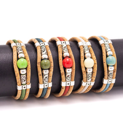 Cork jewelry cork bracelet for women colorful Cork handmade Original bracelet BR-498-MIX-5