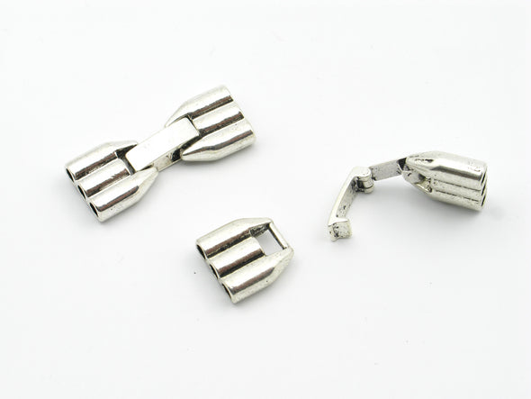 10Pcs for Triple Barrel three stand 3mm Round leather snap clasp, Antique silver jewelry supplies jewelry finding D-6-35