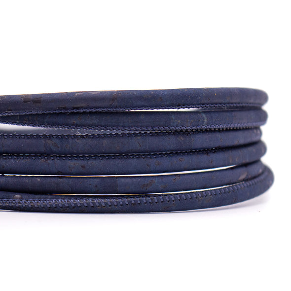 Navy blue cork cord 5mm round COR-429(10meters)