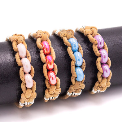 Cork jewelry cork bracelet for women colorful Cork handmade Original bracelet BR-509-MIX-4