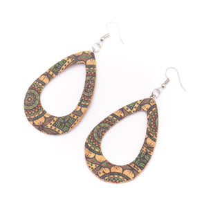 Natural cork with green flower print  fabric  Shapes for Earrings, Original handmade ladies earrings-ER-073-D