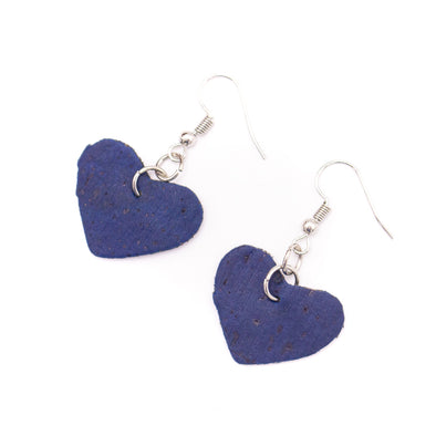 dark  blue cork fabric heart  Shapes for Earrings, Original handmade ladies eamrrings-ER-072-E