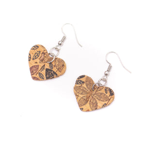 Natural cork with  flower print  fabric  Shapes for Earrings, Original handmade ladies earrings-ER-072-H