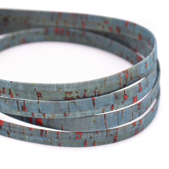 10 meters rustic turquoise 10mm flat cork cord COR-440