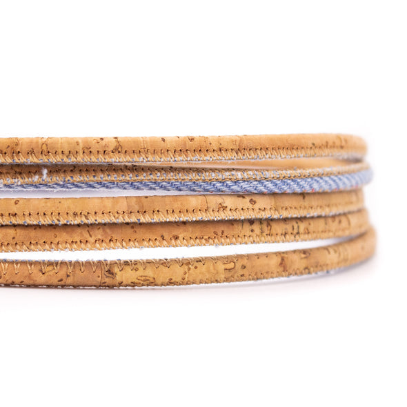 10meter denim with natural cork 5mm round cork cord COR-437