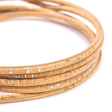Silver with natural 6mm round cork cord COR-422(10 meters)