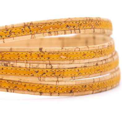 Yellow with natural flat 10mm cork cord COR-414(10meters)