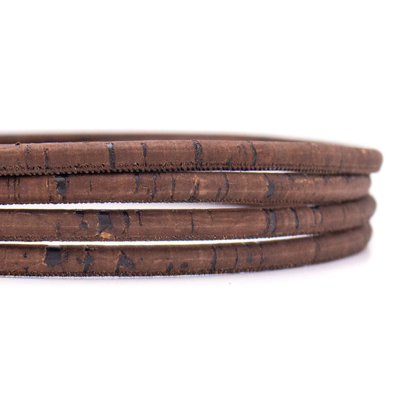 8mm  Dark rustic brown round cork cord COR-416(10 meters)