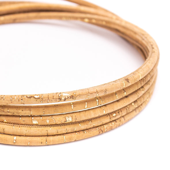 8mm Golden with natural round cork cord COR-423(10 meters)
