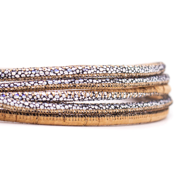 10meters cork mix shining 5mm round cork cord   COR-455