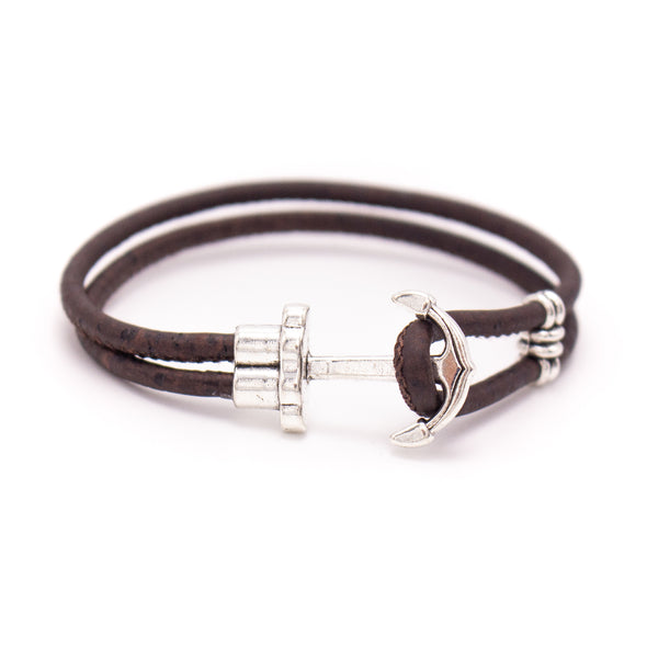 Natural, brown and black cork with Anchor Bracelet MBR-002-MIX-6