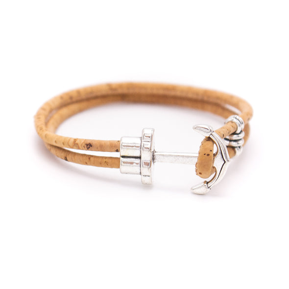Natural and brown cork with Anchor Bracelet men bracelet  MBR-002-MIX-6