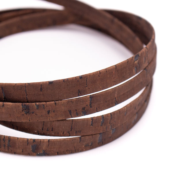 10mm flat rustic dark brown cork cord COR-418(10meters)