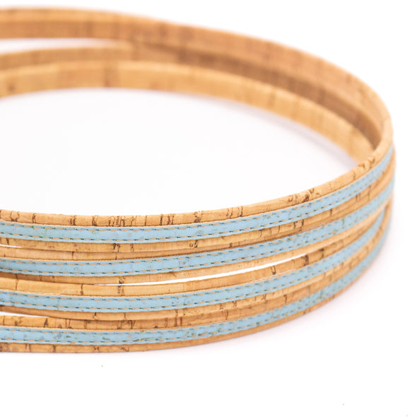 10 meters Sky blue with natural flat 10mm cork cord COR-442