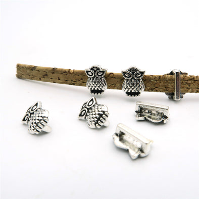 20 Pcs For 5mm flat leather, antique silver owl slider jewelry supplies jewelry finding D-1-5-19