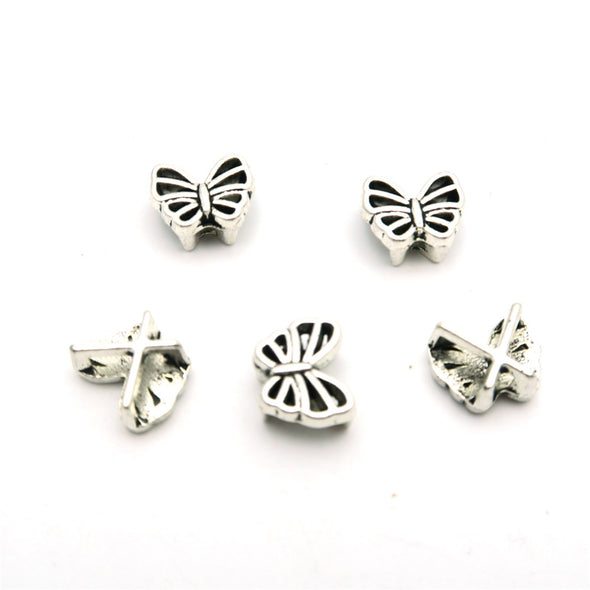 20 Pcs For 5mm flat leather, antique silver butterfly slider jewelry supplies jewelry finding D-1-5-27