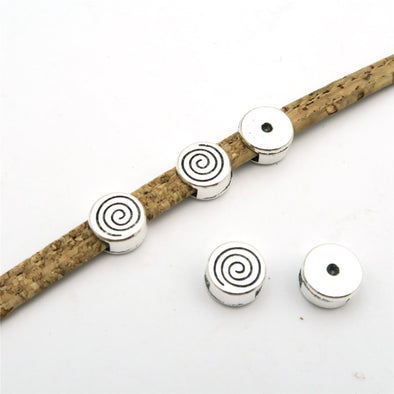 20 Pcs For 5mm flat leather, antique silver vortex slider jewelry supplies jewelry finding D-1-5-30