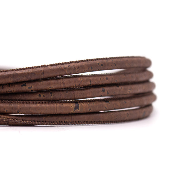 10meters brown 5mm round cork cord  COR-452