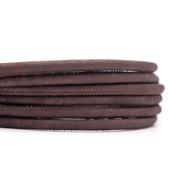 10meters dark brown 5mm round cork cord  COR-451