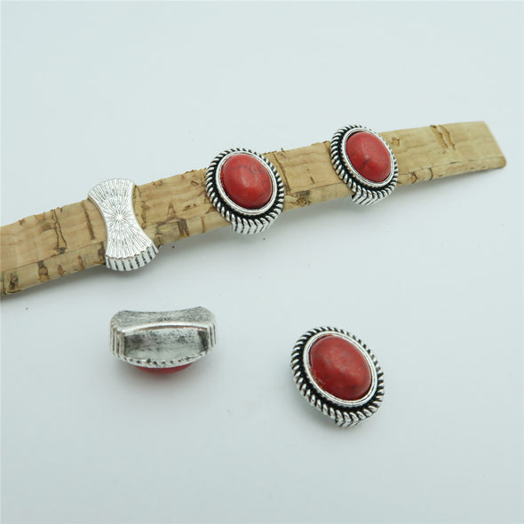10 Pcs for 10mm flat leather, Antique silver with red stone slider beads jewelry supplies jewelry finding D-1-10-140