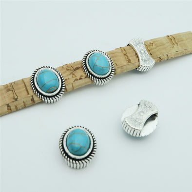 10 Pcs for 10mm flat leather, Antique silver with turquoise slider beads jewelry supplies jewelry finding D-1-10-141