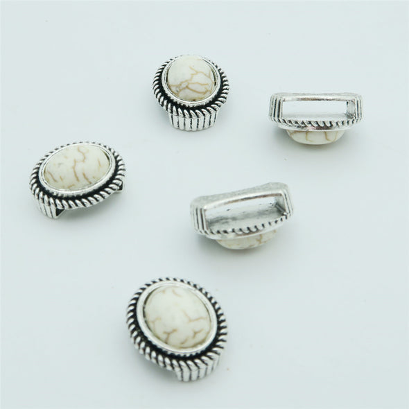 10 Pcs for 10mm flat leather, Antique silver with white turquoise slider beads, jewelry supplies jewelry finding D-1-10-142