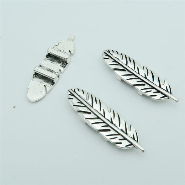 10 Pcs for 10mm flat leather,Antique Silver Feather jewelry supplies jewelry finding D-1-10-49