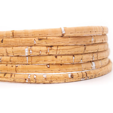 10 Meter 5mm flat Natural with silver cork cord COR-197