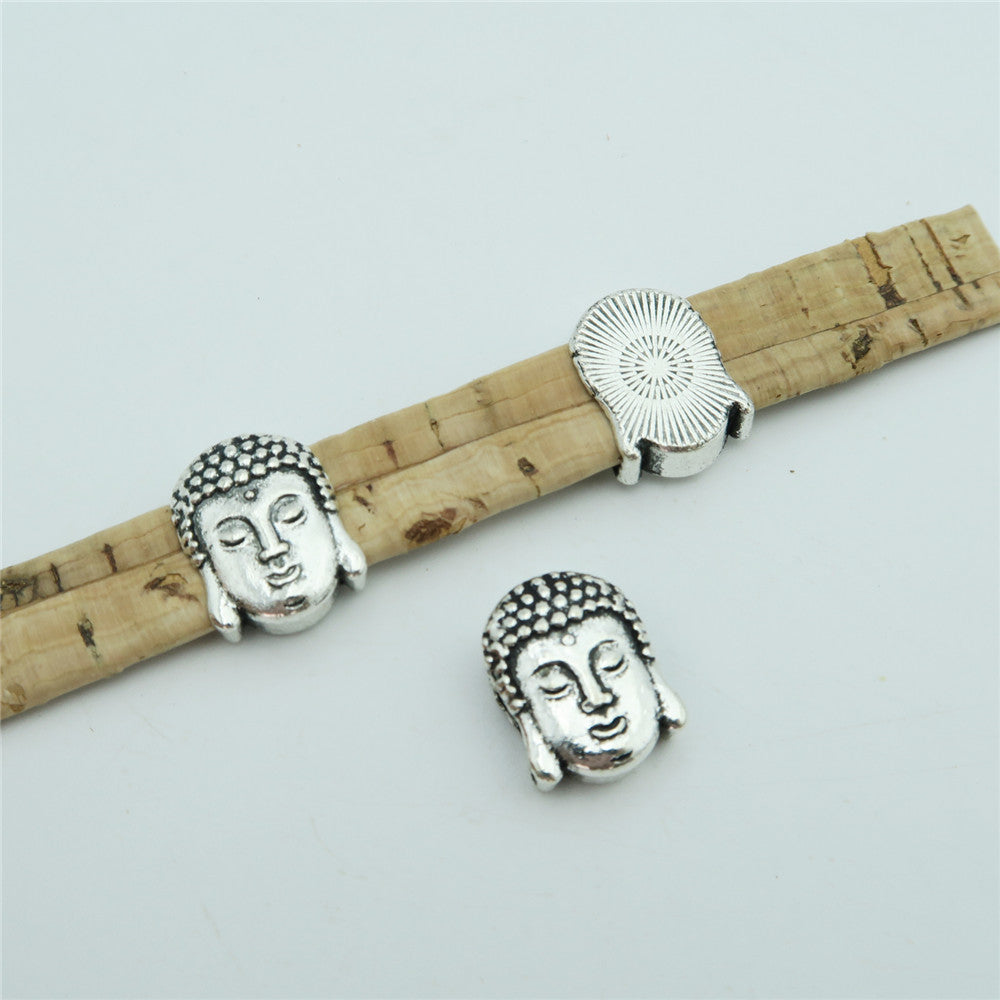10 Pcs for 10mm flat leather, Antique silver Buddha head slider beads jewelry supplies jewelry finding D-1-10-139