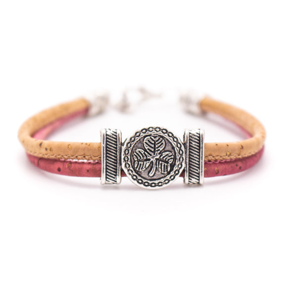 Natural Cork with Four-leaf flower alloy accessories Pattern  bracelet PB-003-MIX-6