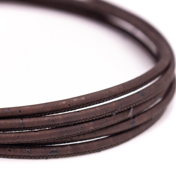 10meters dark brown 3mm round cork cord COR-450