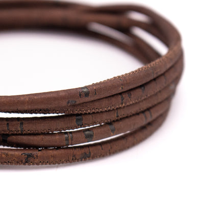 4mm Dark brown rustic round cork cord COR-463(10 meters)