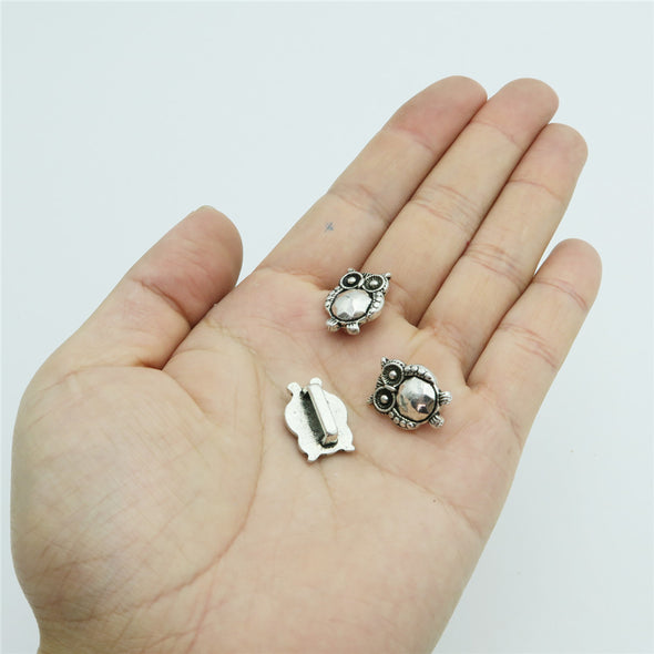 20 Pcs for 10mm flat leather, Antique silver owl slider, jewelry supplies jewelry finding D-1-10-131