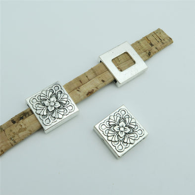 10 Pcs for 10mm flat leather, Antique silver square with flower slider, jewelry supplies jewelry finding D-1-10-135