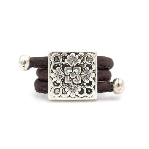 Square flower with colorful cork handmade women original natural Cork Rings  Rw-006