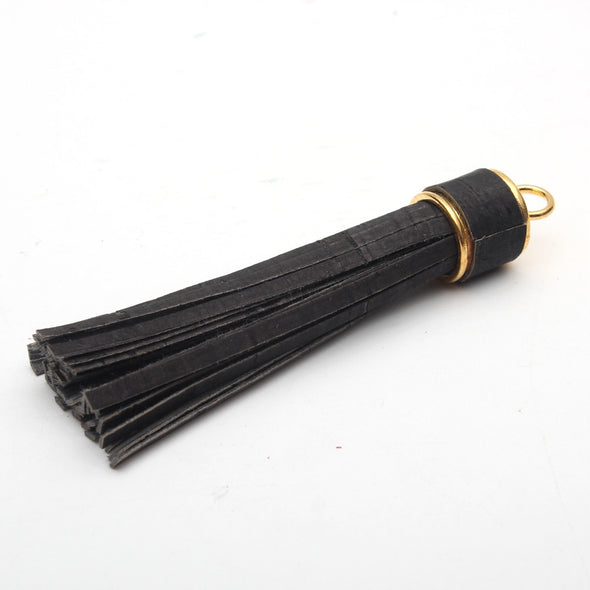 Cork tassel black white natural jewelry supplies Cor-193
