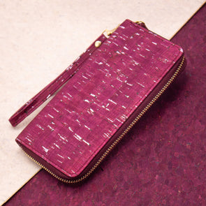 Wine red with silver cork women card zipper vegan wallet BAG-2040