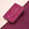 Wine red with silver medium cork women card zipper vegan wallet BAG-2041