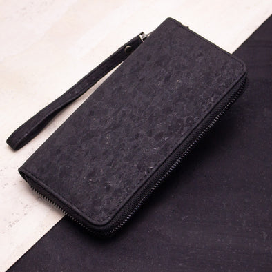 Black long cork women card zipper vegan wallet BAG-2042