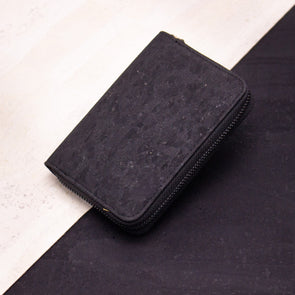 Black medium cork women card zipper vegan wallet BAG-2043