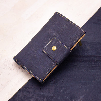 Brown navy cork billfold card vegan women wallet BAG-2016