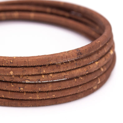 Brown light 5mm round cork cord COR-460(10 meters)